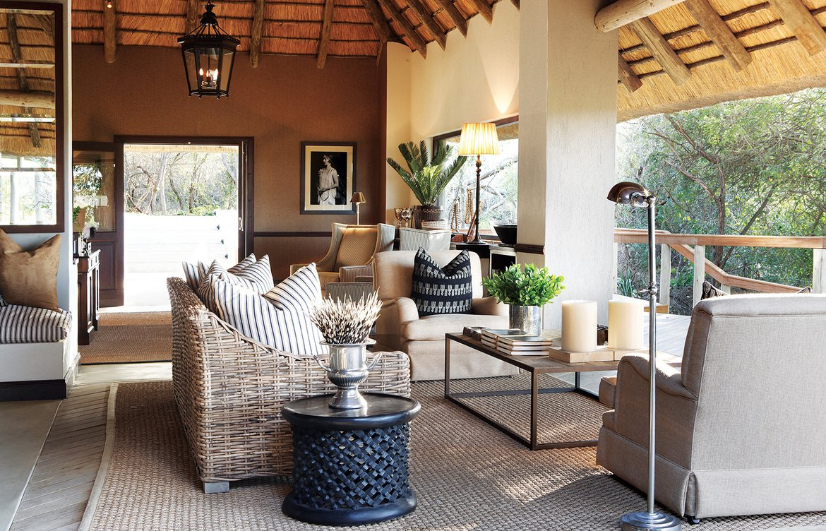 The main area / lounge /sitting area of Pioneer Camp Londolozi